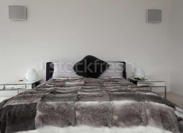 現代 ベッド インテリア 誰も 家 ストックフォト © alexandre_zveiger