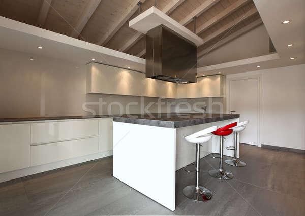 Foto d'archivio: Moderno · cucina · elegante · soffitta · home · tavola