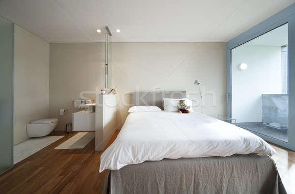 Belső modern lakás kortárs ház hálószoba Stock fotó © alexandre_zveiger
