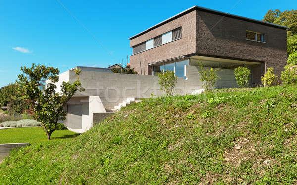 Arquitectura moderna diseno casa hermosa aire libre Foto stock © alexandre_zveiger