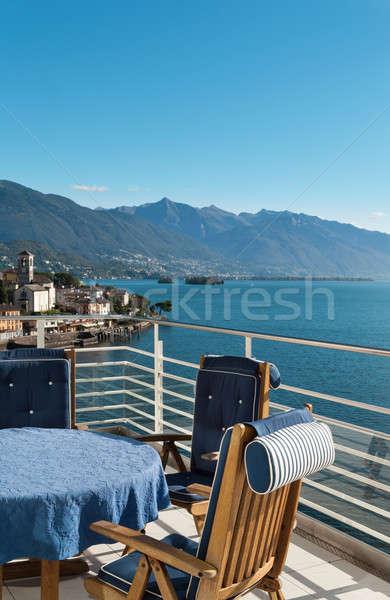 Blauw tabel stoelen terras penthouse hemel Stockfoto © alexandre_zveiger