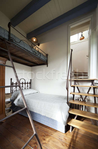 Bedroom interior and wooden stairs Stock photo © alexandre_zveiger