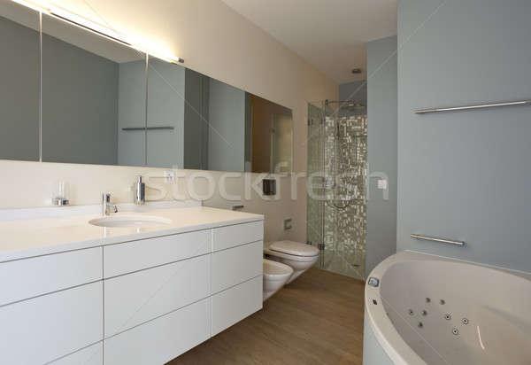Badkamer moderne ontwerp huis architectuur spiegel Stockfoto © alexandre_zveiger