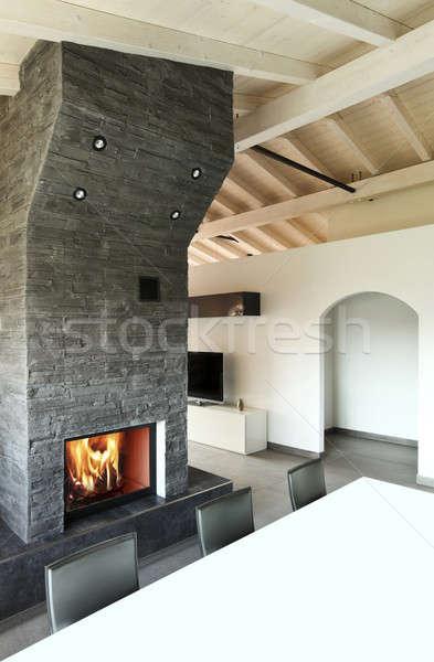 Soggiorno camino soffitta home stanza mobili Foto d'archivio © alexandre_zveiger