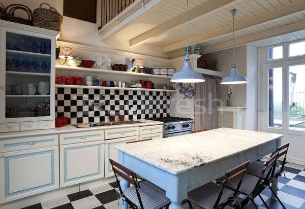 Satranç tahtası kiremitli mutfak iç karo ev ışık Stok fotoğraf © alexandre_zveiger
