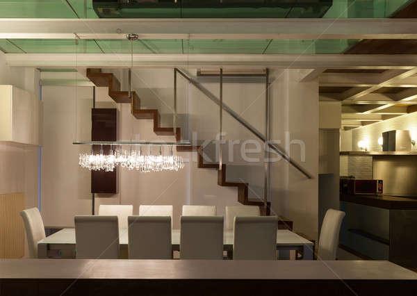 Сток-фото: интерьер · широкий · чердак · столовая · архитектура · современных