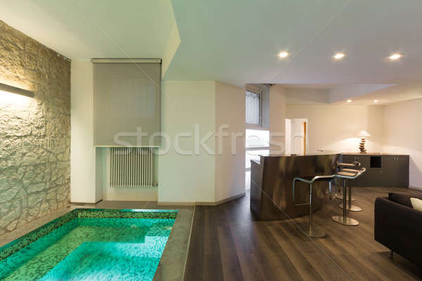 Interieur breed vliering architectuur moderne meubels Stockfoto © alexandre_zveiger