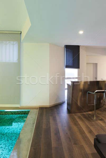 Stockfoto: Interieur · woonkamer · zwembad · architectuur · breed · vliering