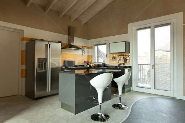 interior, new loft furnished, kitchen island with two stools  Stock photo © alexandre_zveiger