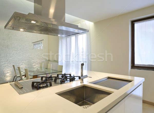 Architecture moderne nouvelle appartement design d'intérieur cuisine maison Photo stock © alexandre_zveiger
