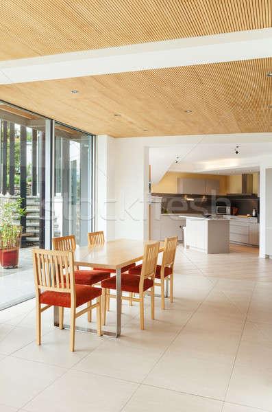 ダイニングルーム キッチン 表示 山 家 近代建築 ストックフォト © alexandre_zveiger