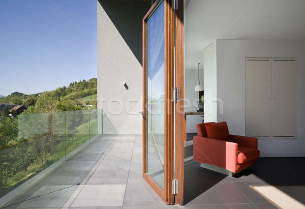 Moderne woonkamer venster terras huis natuur Stockfoto © alexandre_zveiger