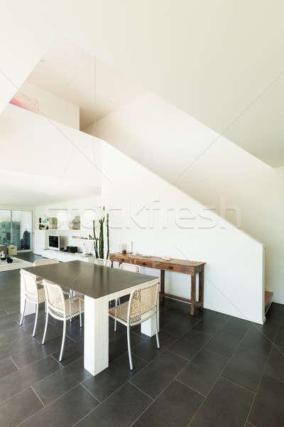 Interior moderno casa garfo mesa de jantar ver Foto stock © alexandre_zveiger