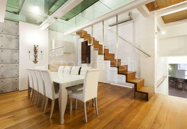Interior, wide loft, dining room Stock photo © alexandre_zveiger