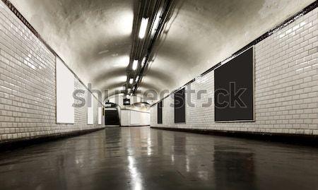 Starych podziemnych tunelu neon ulicy Zdjęcia stock © alexandre_zveiger