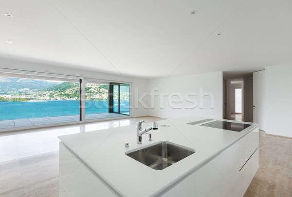 Stock photo: beautiful modern house, kitchen