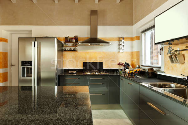 Iç yeni çatı katı görmek mutfak iç mutfak Stok fotoğraf © alexandre_zveiger