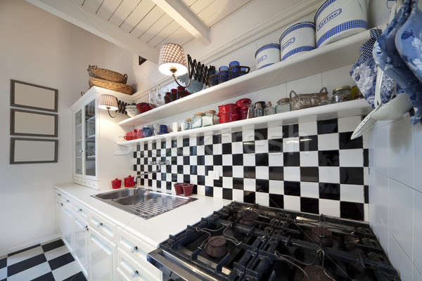 Chessboard tiled kitchen interior  Stock photo © alexandre_zveiger