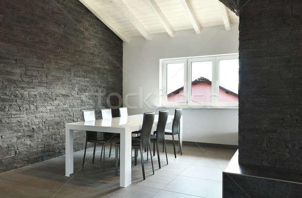 Moderno appartamento soggiorno soggiorno soffitta legno Foto d'archivio © alexandre_zveiger