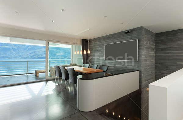 Interieur moderne appartement architectuur breed eetkamer Stockfoto © alexandre_zveiger