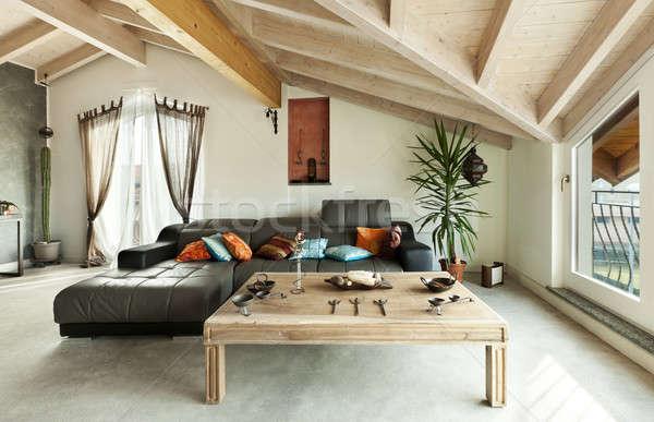 Interieur nieuwe vliering etnische meubels woonkamer Stockfoto © alexandre_zveiger