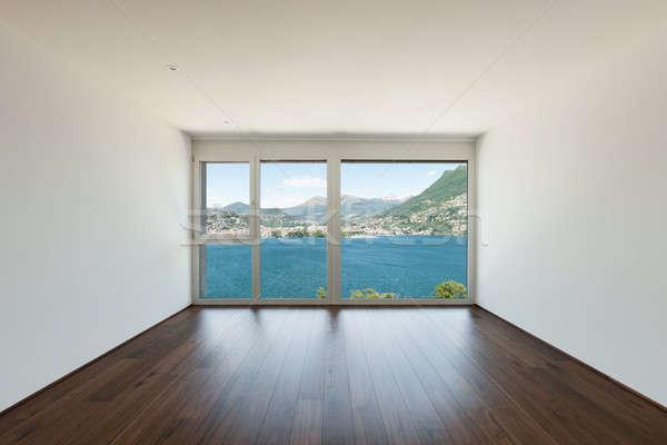Lege kamer venster meer mooie moderne huis Stockfoto © alexandre_zveiger