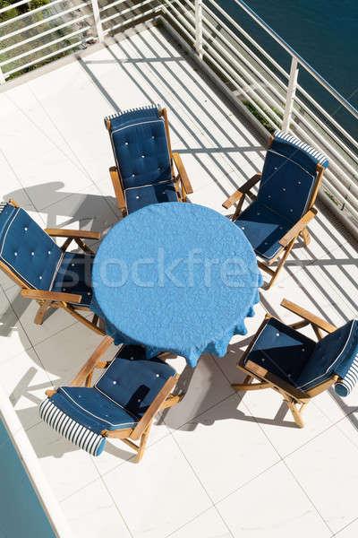 синий таблице стульев терраса пентхауз Top Сток-фото © alexandre_zveiger