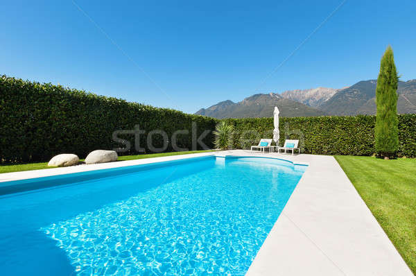 Moderna Villa piscina vista árbol verde Foto stock © alexandre_zveiger