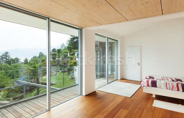 Zdjęcia stock: Wnętrza · nowoczesne · domu · sypialni · balkon · domu