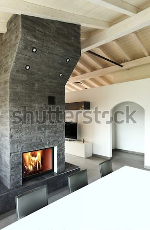 living room with fireplace Stock photo © alexandre_zveiger