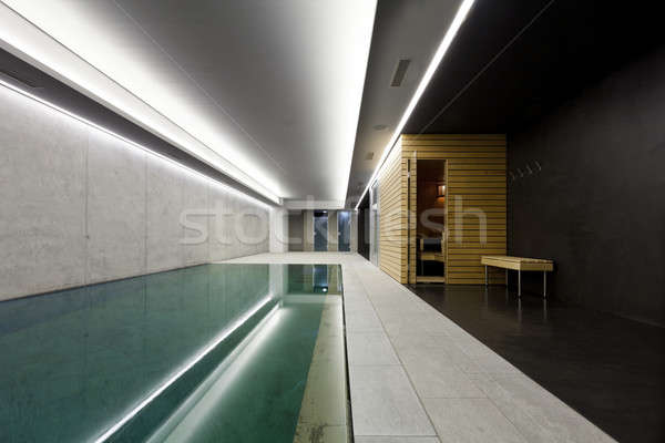 modern house with swimming pool, interior Stock photo © alexandre_zveiger