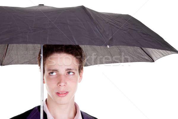 Stock fotó: Fiatal · srác · esernyő · izolált · fehér · stúdiófelvétel · férfi