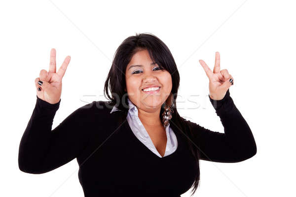 happy large latin woman, with thumbs raised as a sign of victory Stock photo © alexandrenunes