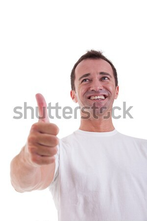 handsome middle-age man with thumb raised as a sign of success, isolated on white background. studio Stock photo © alexandrenunes