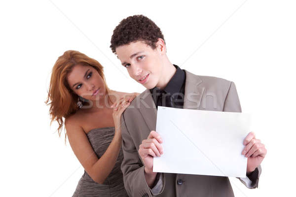 young couple, man holding a paperboard in hand,she looking for him Stock photo © alexandrenunes