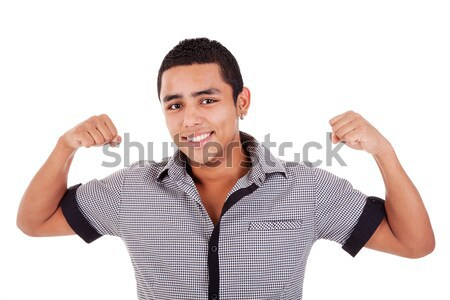 Portrait of a very happy young latin man with his arms raised Stock photo © alexandrenunes