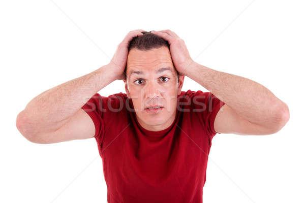 Kétségbeesés férfi kezek fej fehér stúdiófelvétel Stock fotó © alexandrenunes