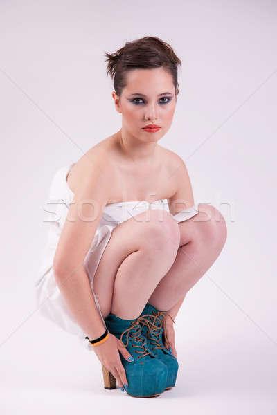 happy beautiful woman, on the floor, studio shot Stock photo © alexandrenunes