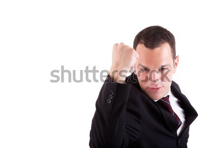 business man with arm raised in victory sign Stock photo © alexandrenunes