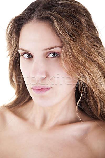 Schönen blonde Frau Frau Mädchen Gesicht Augen Stock foto © alexandrenunes
