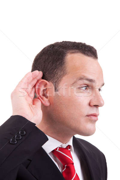businessman, listening, viewing the gesture of hand behind the ear Stock photo © alexandrenunes