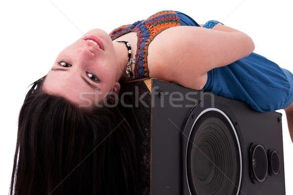 young beautiful girl listening music with pleasure Stock photo © alexandrenunes