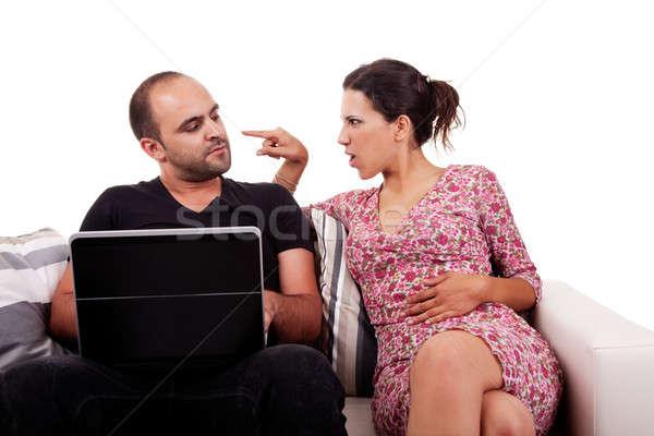 Casal sessão sofá jogar computador isolado Foto stock © alexandrenunes