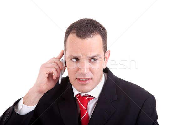Empresário telefone isolado branco azul Foto stock © alexandrenunes