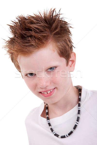 Bonitinho loiro menino sorridente isolado branco Foto stock © alexandrenunes
