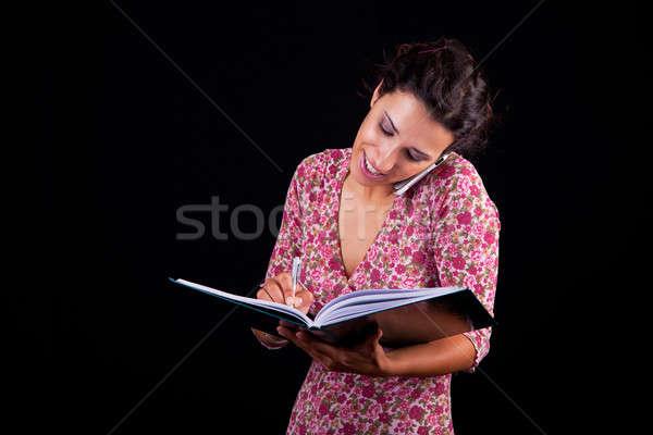 美しい 幸せ 女性実業家 メモを取る 電話 孤立した ストックフォト © alexandrenunes