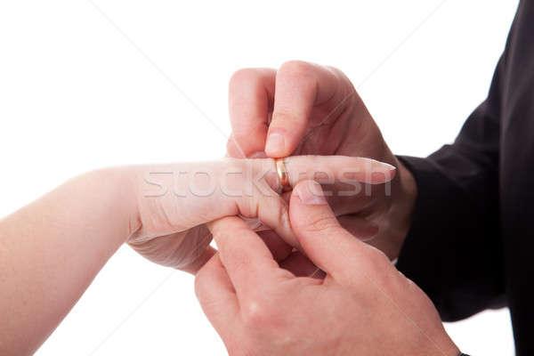 Mão homem anel mulher isolado branco Foto stock © alexandrenunes