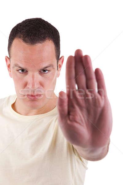 Homem mão sinalizar pare negócio Foto stock © alexandrenunes