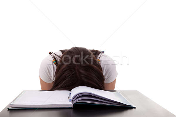 woman has stress because of work on her desk Stock photo © alexandrenunes