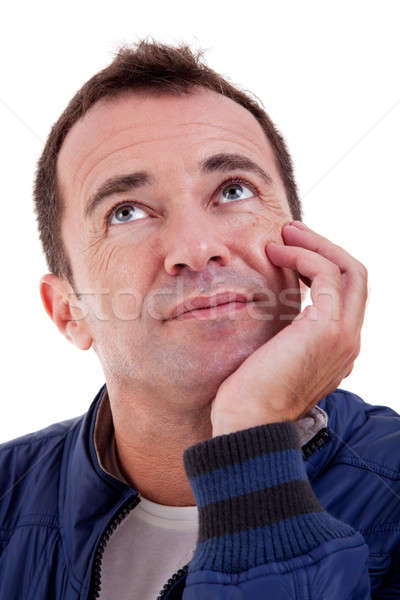 Portrait of a handsome middle-age man, with a hand on the face, Stock photo © alexandrenunes